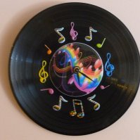 Buy Colorful Music Recycled Vinyl Record/CD Clock Wall Art ...