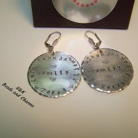 Buy Custom made earrings, hand stamped jewelry, family ...