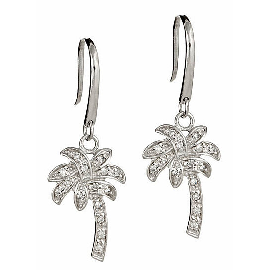 Buy Sterling Silver Palm Tree Dangle CZ Earrings by