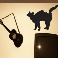 Buy Halloween Scared black cat Holiday Vinyl Wall Decal ...