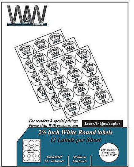 Buy W4W 2-1/2 inch Round Self Adhesive White Labels Comparable to