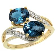 Buy 14k Yellow Gold London Blue Topaz 2-stone Mother's ...