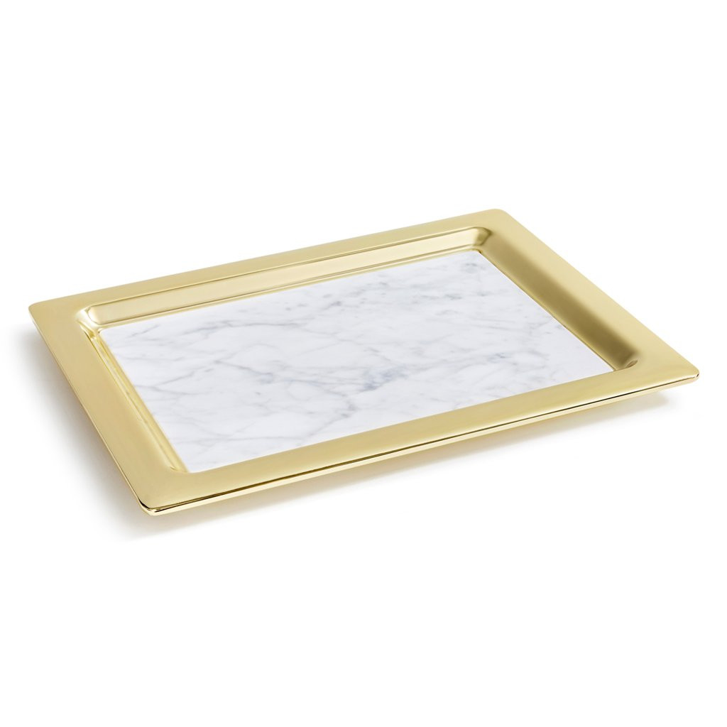 Gold Serving Tray Anna Dual Tray Carrara Marble Gold