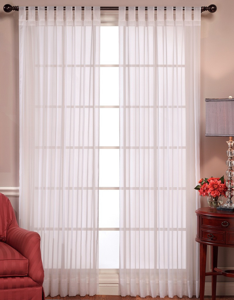 Tab Top Curtain Emelia Sheer Voile Tab Top Curtain Panel Available In 2 Colors