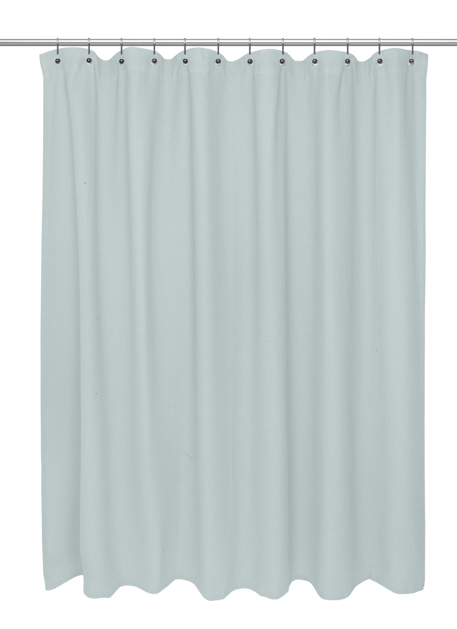 Shower Curtains For Less Waffle Weave Cotton Shower Curtain Spa Blue