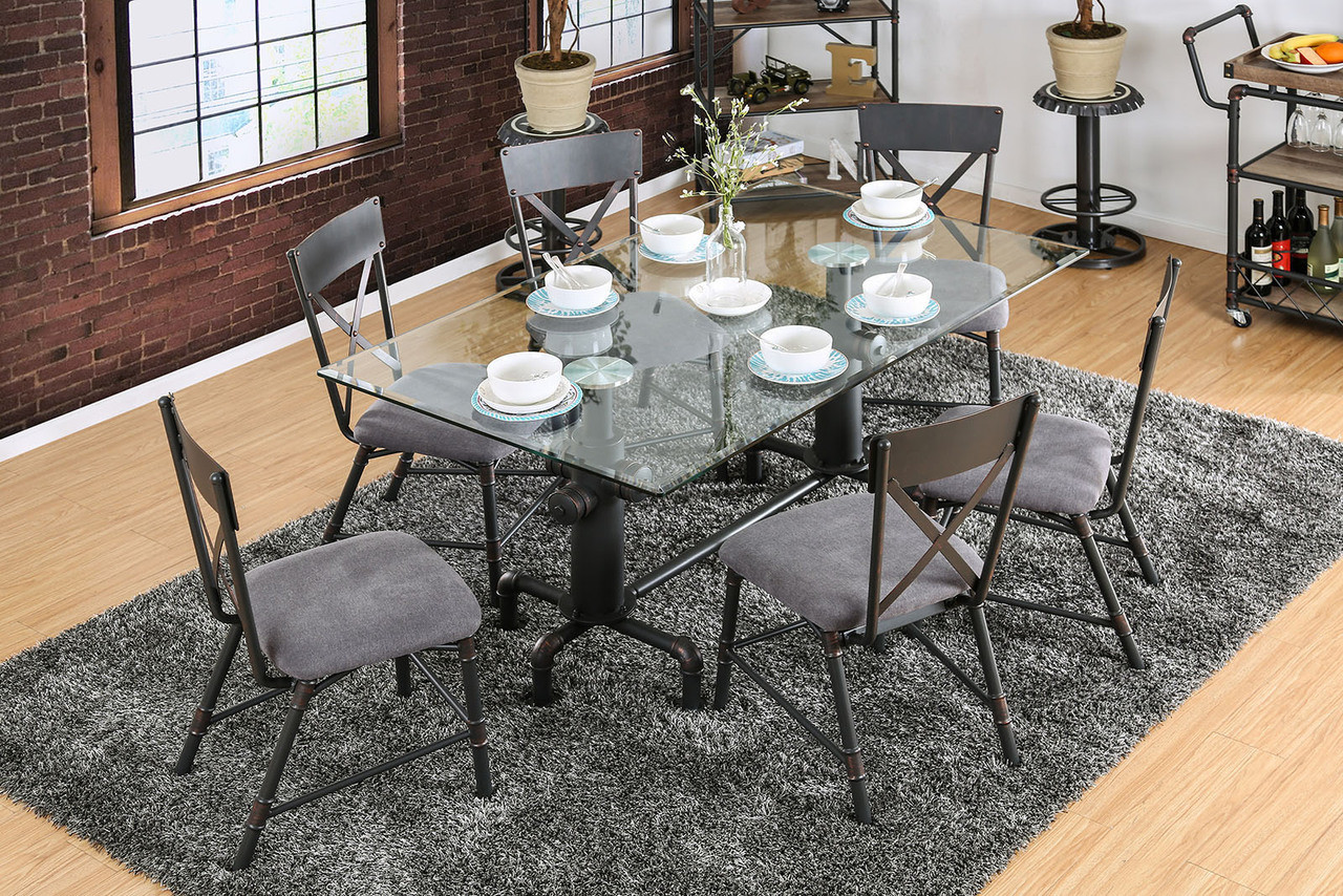 Glass Dining Table And Chairs Industrial Fire Hydrant Themed Metal Glass Dining Table Set