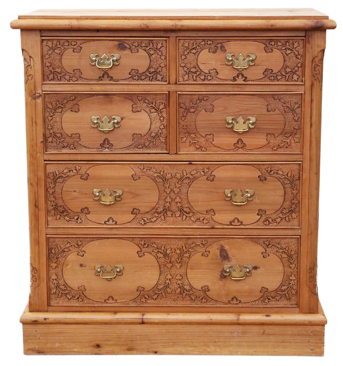 Victorian Pine Chest Of Drawers Antique Victorian Style Pine Pokerwork Chest Of Drawers Prior