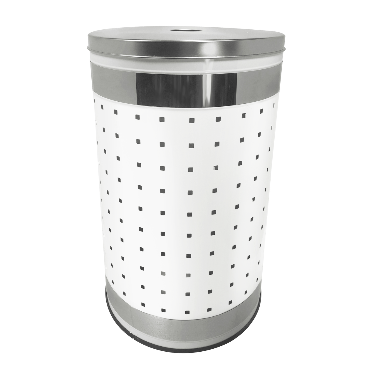 Metal Wash Bin Krugg 50l Ventilated White And Polished Stainless Steel Laundry Bin Hamper Clothes Basket With Stainless Steel Lid