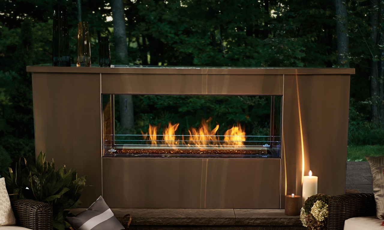 Outdoor Gas Fireplaces 48 Inch Two Sided Linear Outdoor Gas Fireplace
