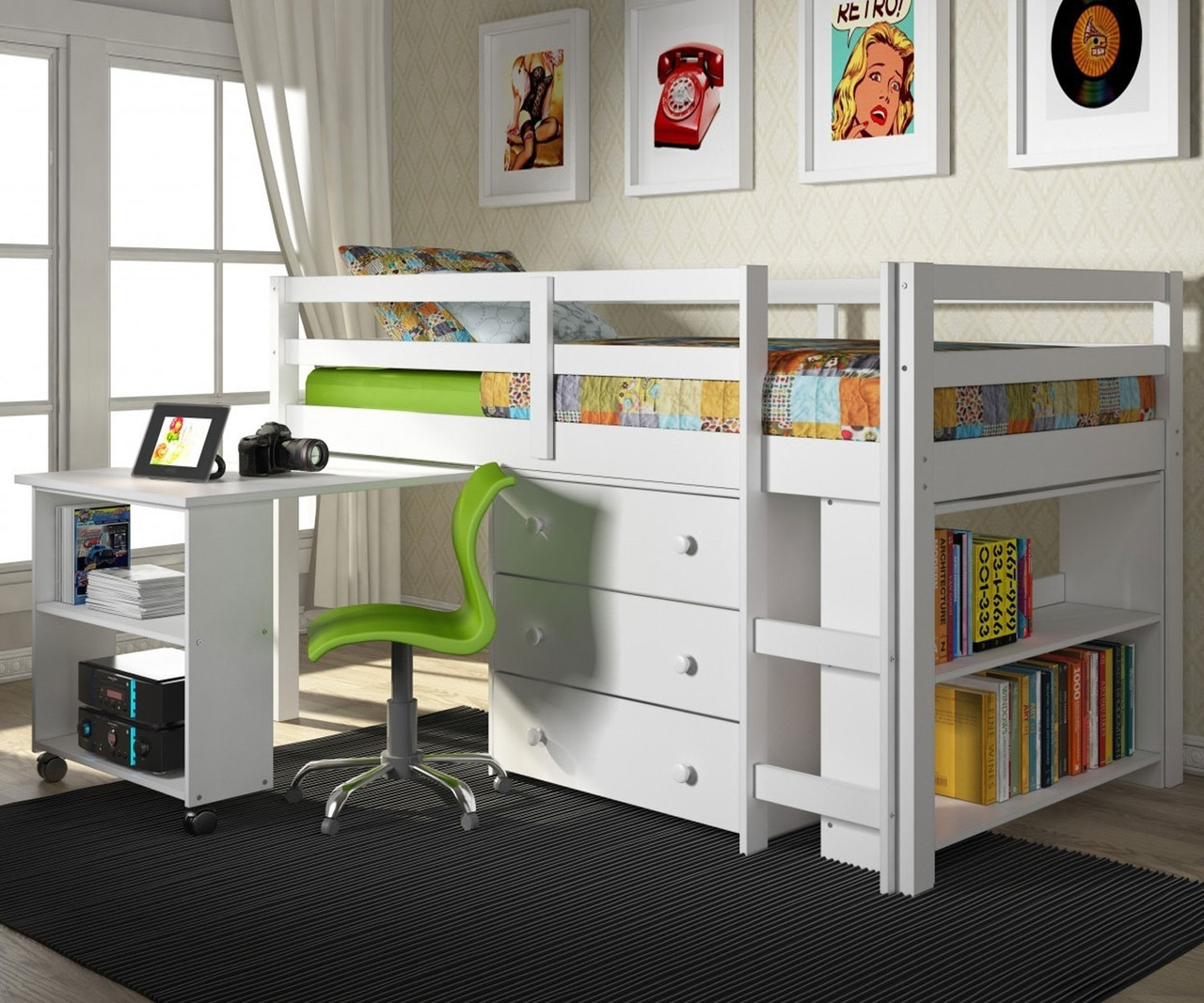 Bed With Desk Donco Low Loft Bed With Desk And Storage Twin Size White