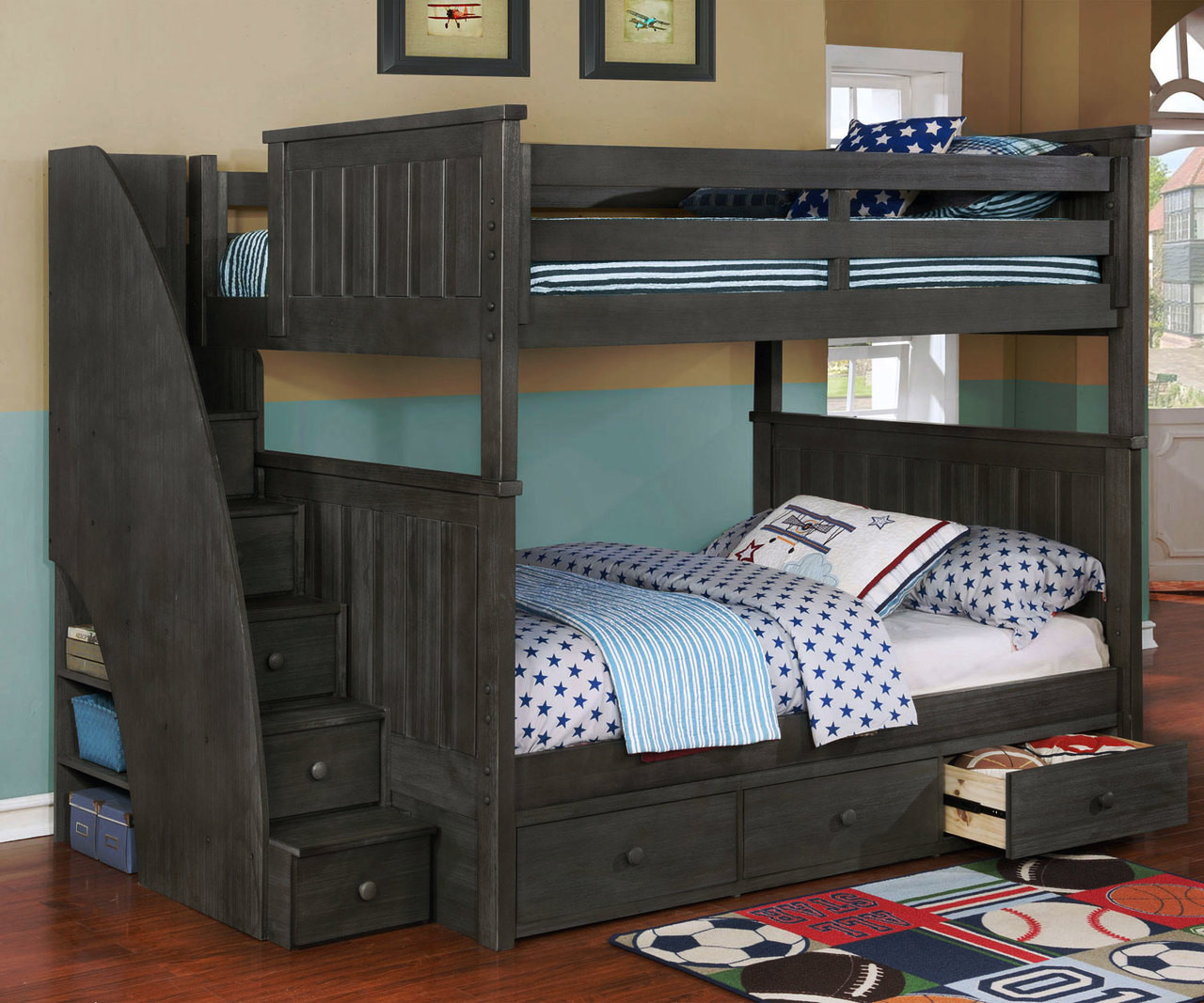 Beds And Beds Allen House Brandon Full Over Full Bunk Bed With Stairs Weathered Dark Gray