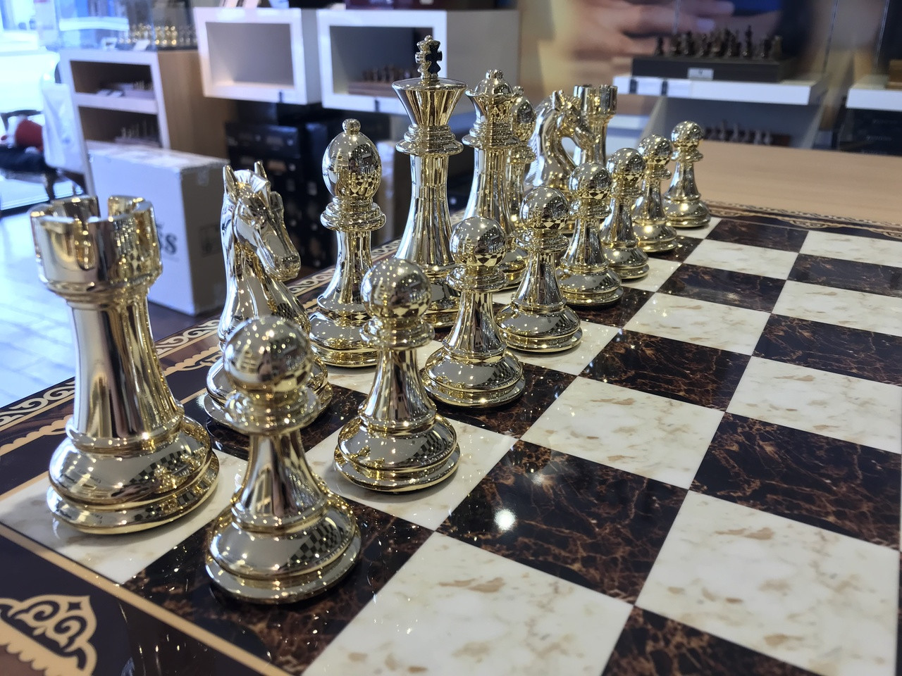 Gold Chess Pieces Dal Rossi 50cm Mosaic Finish Chess Board 105mm Gold Silver Colour Chess Pieces