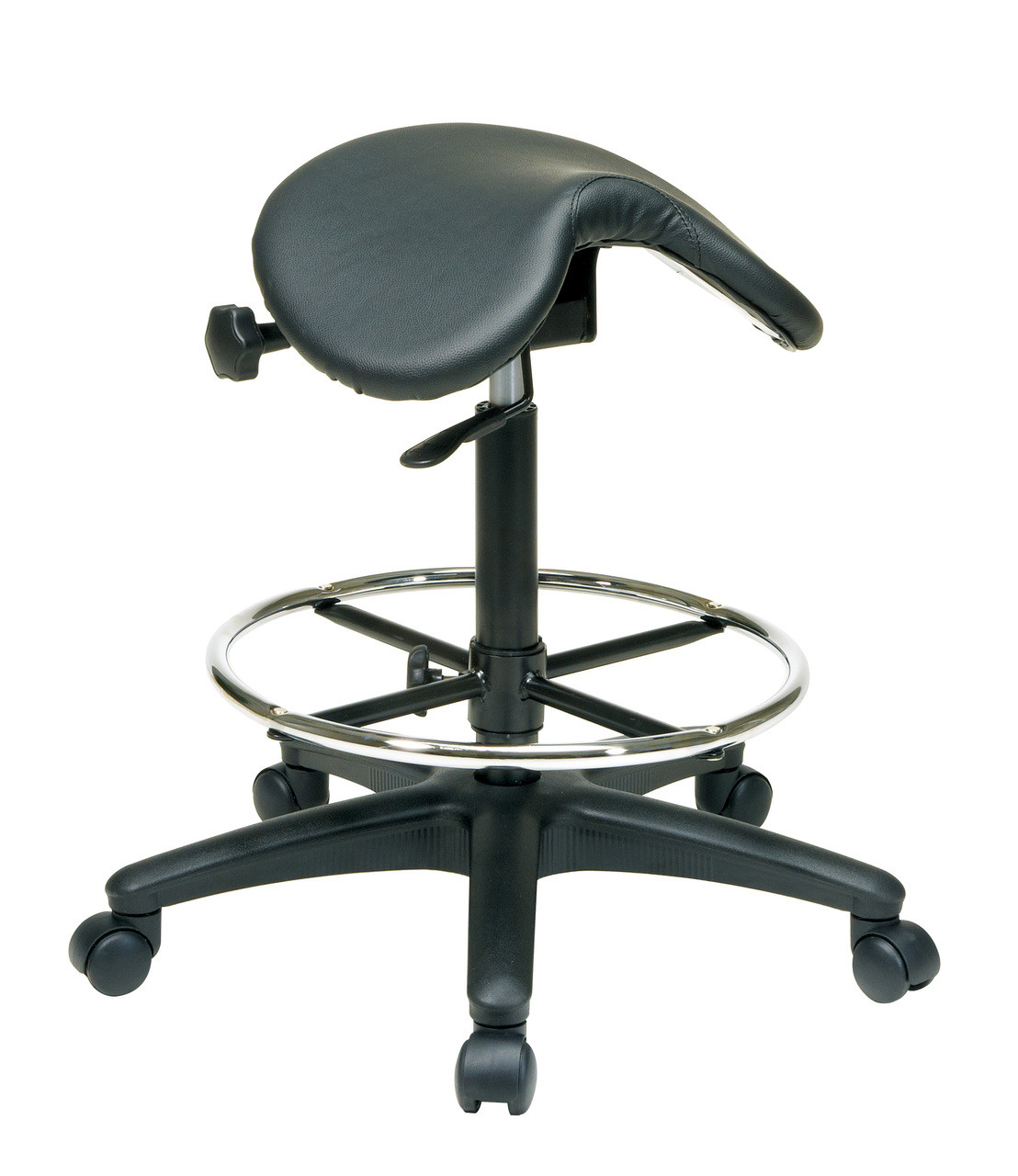 Saddle Office Chair Office Star Work Smart St205 Backless Stool With Saddle Seat Dual Wheel Carpet Casters Nylon Base And Seat Angle Adjustment