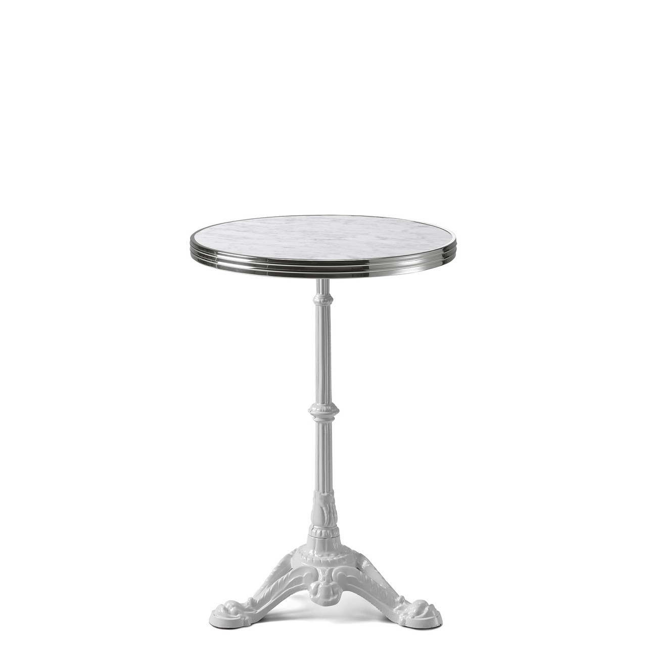 Table Bistrot Inox Ardamez Round White Marble Haussmann Bistro Table Top