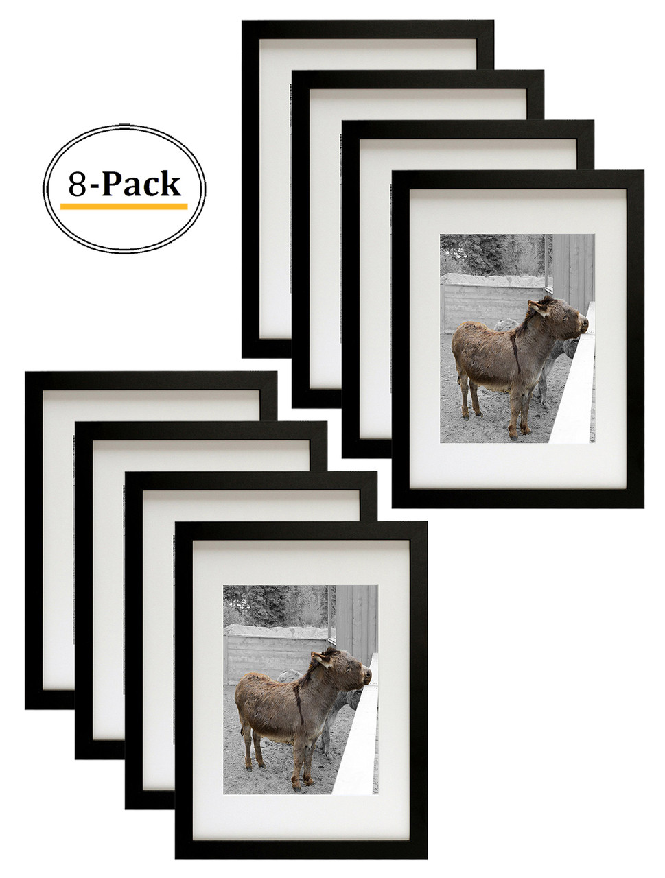 12x16 12x16 Picture Frame Matted To Fit Pictures 8 5x11 Inches Or 12x16 Without Mat Black 8pcs Box