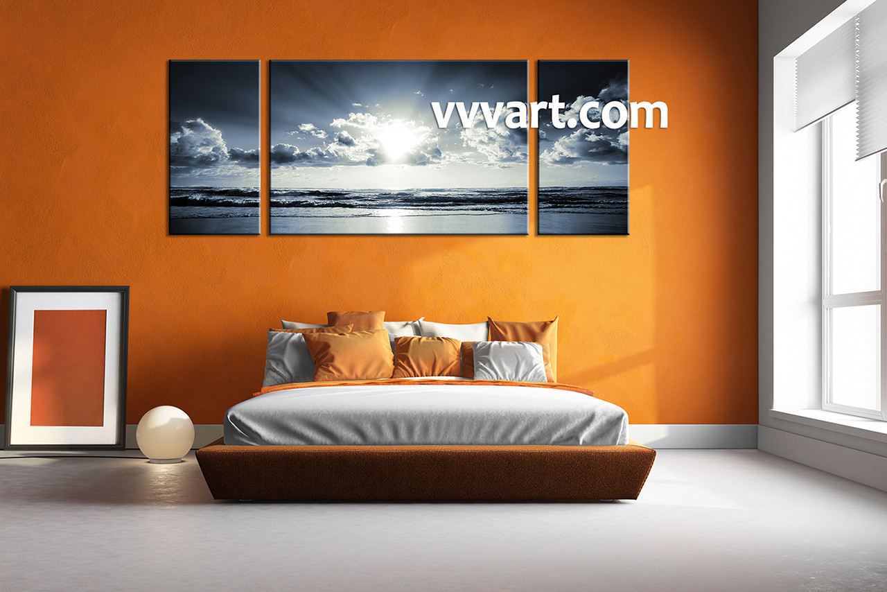 Black And White Canvas Pictures 3 Piece Black And White Art Canvas Prints Ocean Sunset Wall Art Panoramic Decor