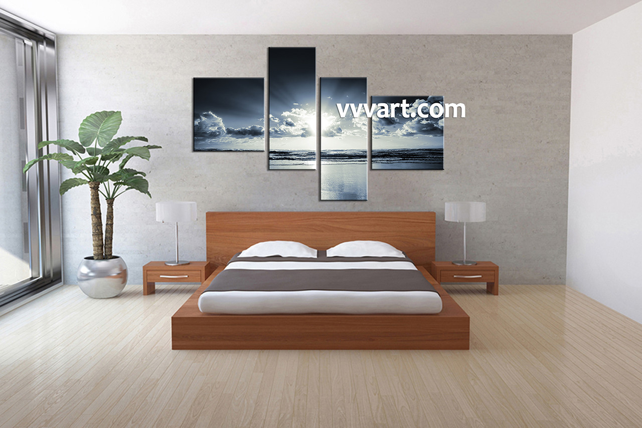 Black And White Artwork For Bedroom 4 Piece Black And White Canvas Ocean Sunrise Blue Wall Art Ocean Canvas Art Beach Canvas Art