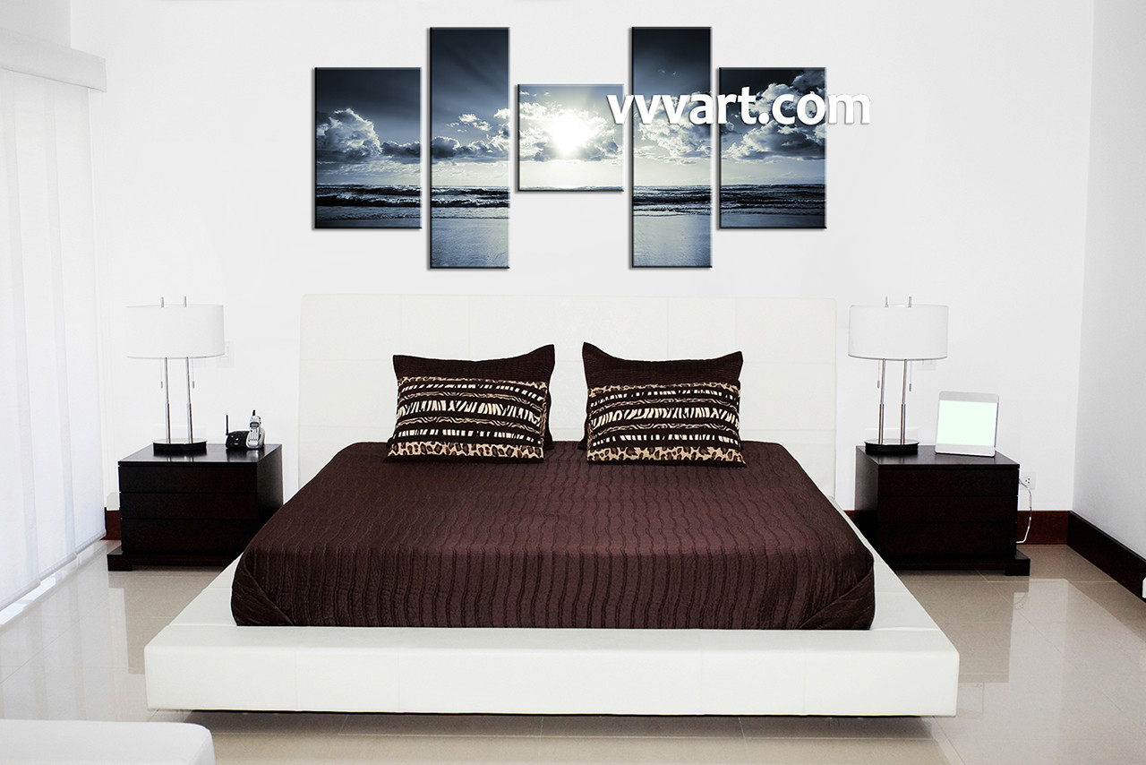 Black And White Artwork For Bedroom 5 Piece Black And White Blue Ocean Multi Panel Canvas Ocean Canvas Art Beach Canvas Art