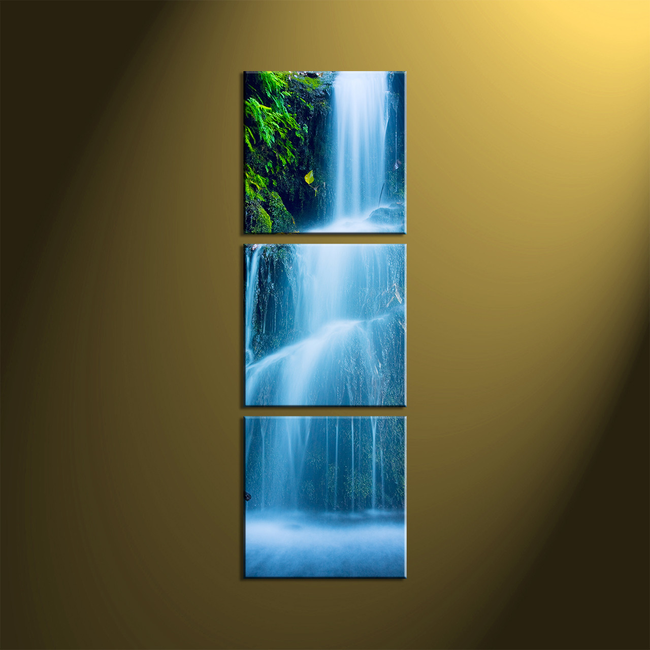 Large Vertical Paintings 3 Piece Green Scenery Nature Waterfall Art
