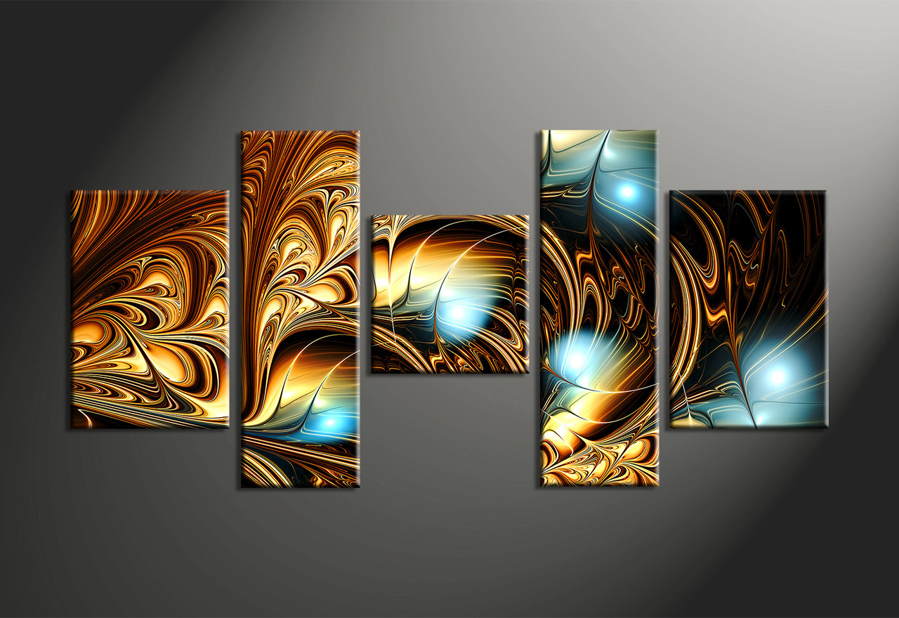 Abstract Art Prints On Canvas 5 Piece Yellow Brown Abstract Multi Panel Canvas Abstract Wall Art Large Abstract Art