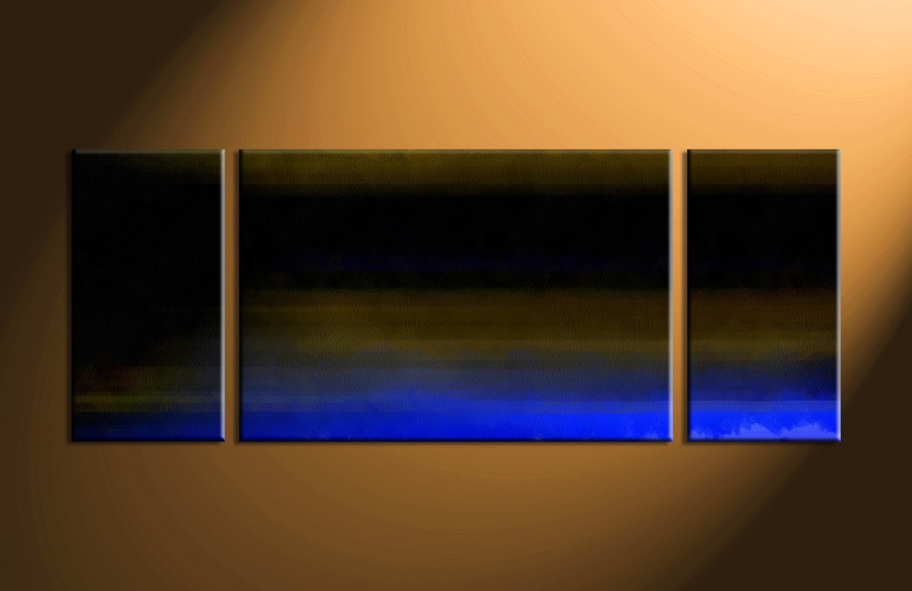 Abstract Art Prints On Canvas 3 Piece Black Brown Blue Canvas Abstract Canvas Photography Wide Triptych Art