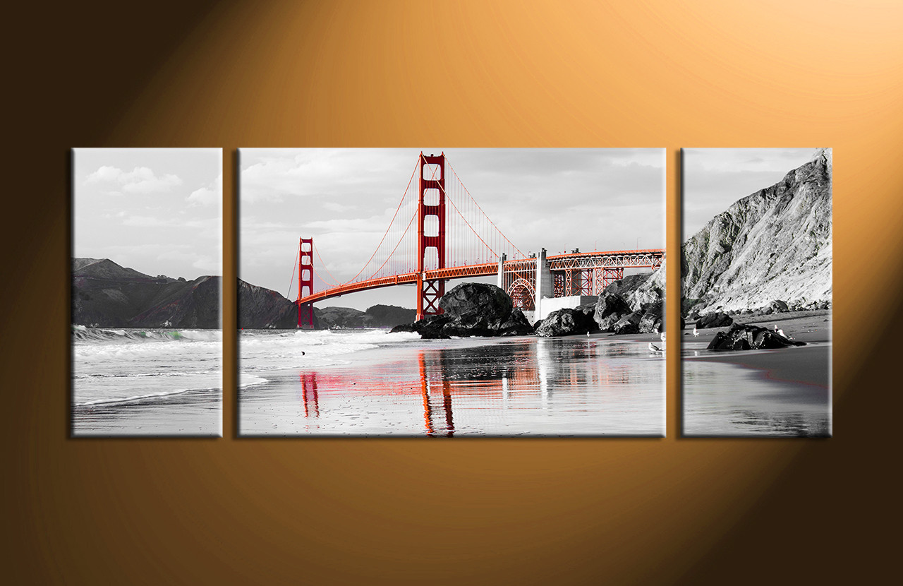 Black And White Canvas Pictures 3 Piece City Black White Red Large Bridge Pictures Panoramic Wall Art Landscape Wall Art