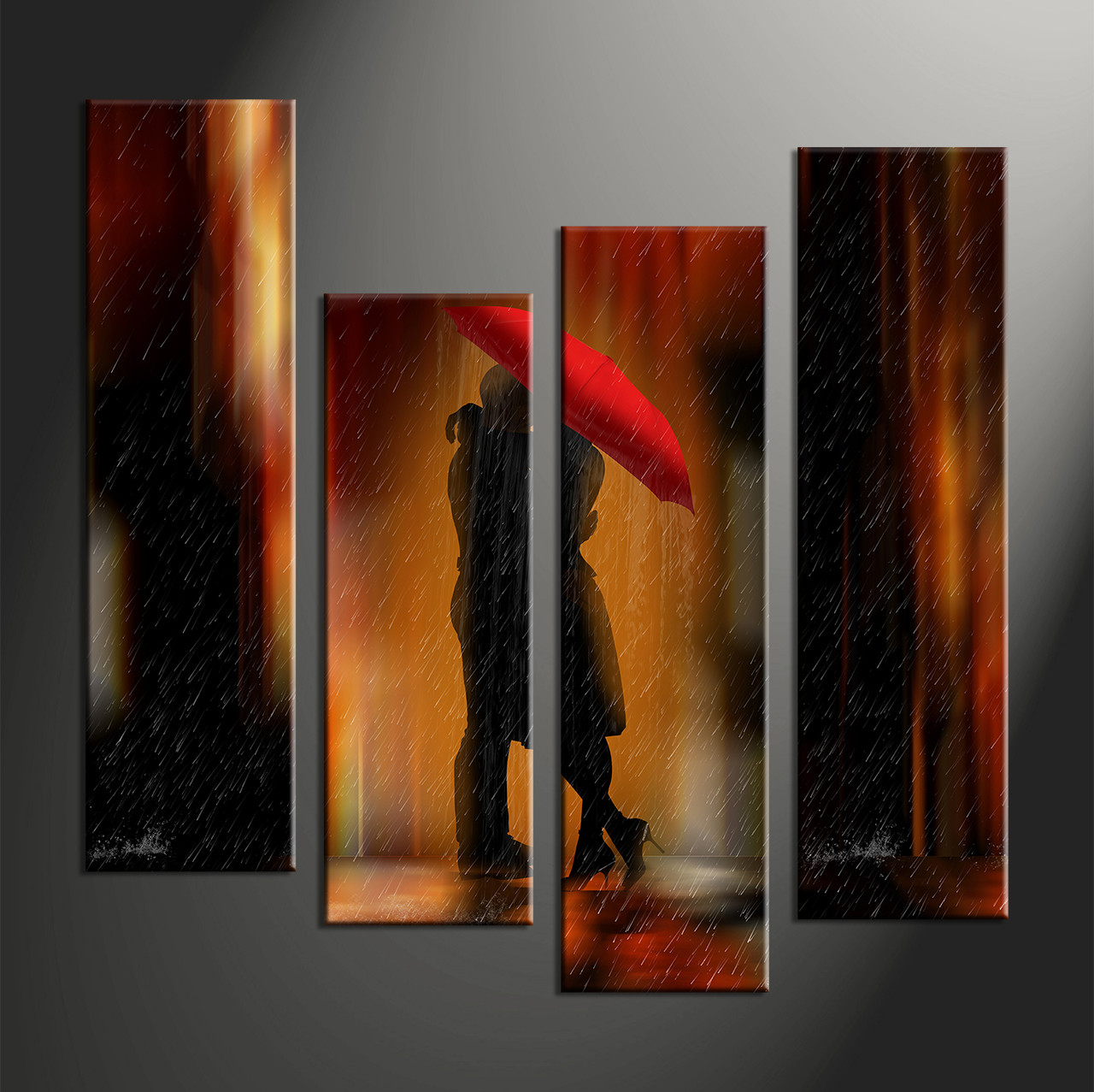 Abstract Art Prints On Canvas 4 Piece Red Modern Rain Canvas Art Prints Couple Love Rain Abstract Artwork