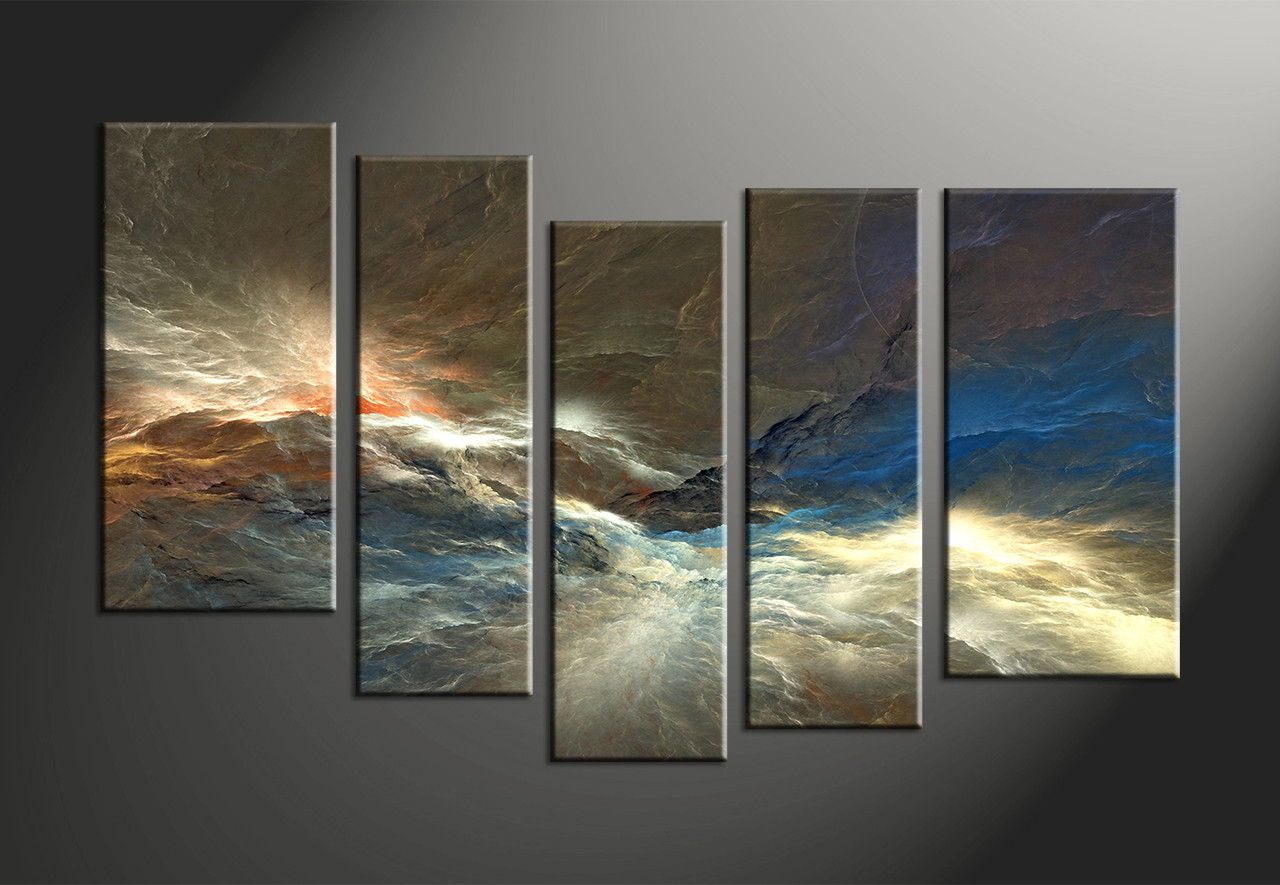 Abstract Art Prints On Canvas 5 Piece Colorful Abstract Huge Canvas Art Blue Grey Silver