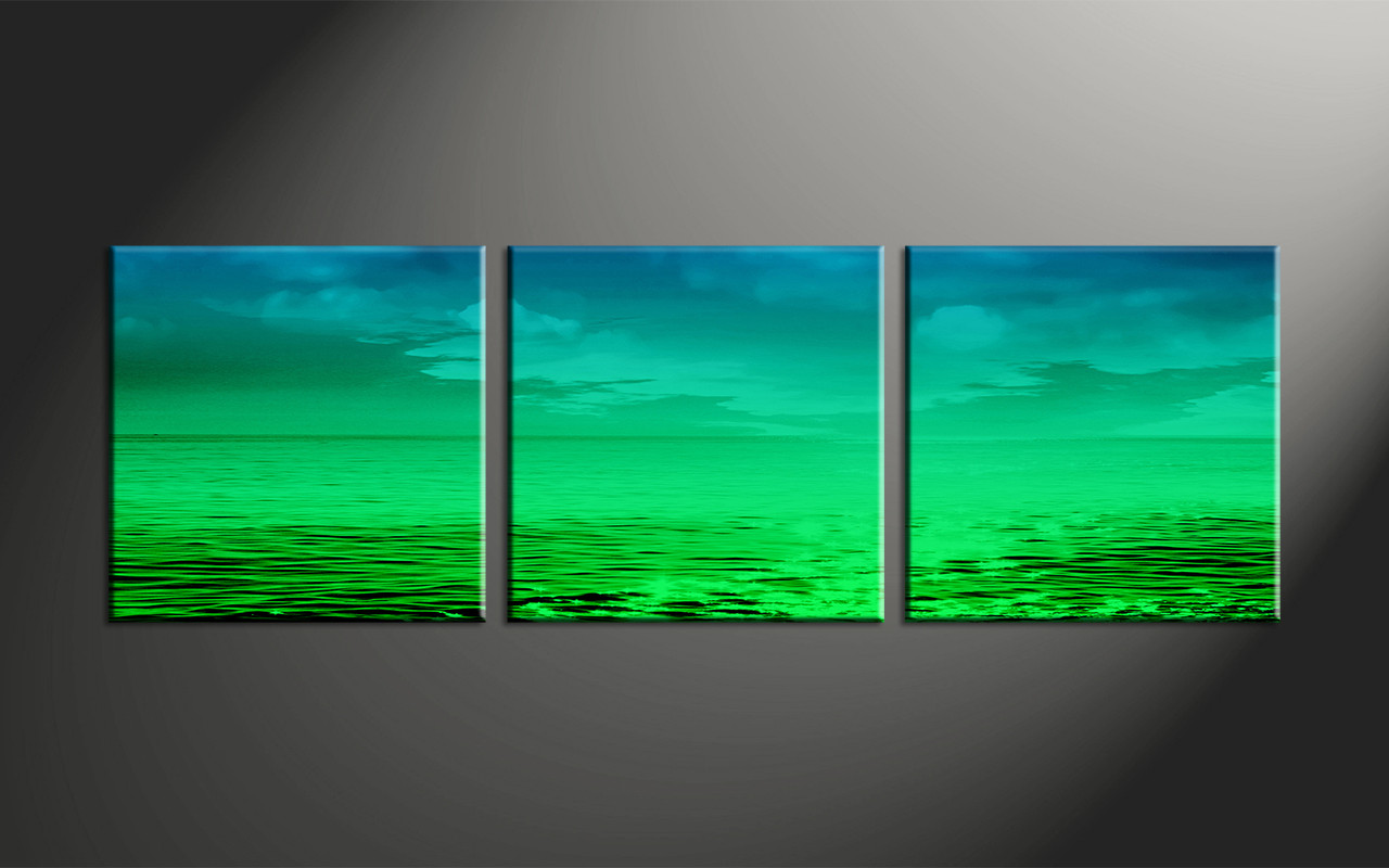 Abstract Art Prints On Canvas 3 Piece Canvas Green Blue Ocean Panoramic Abstract Artwork Ocean Canvas Art Beach Canvas Art