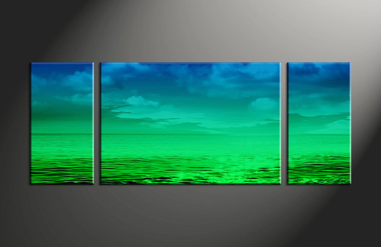Abstract Art Prints On Canvas Wide Blue Green 3 Piece Canvas Ocean Deep Water Abstract Artwork Ocean Canvas Art Beach Canvas Art