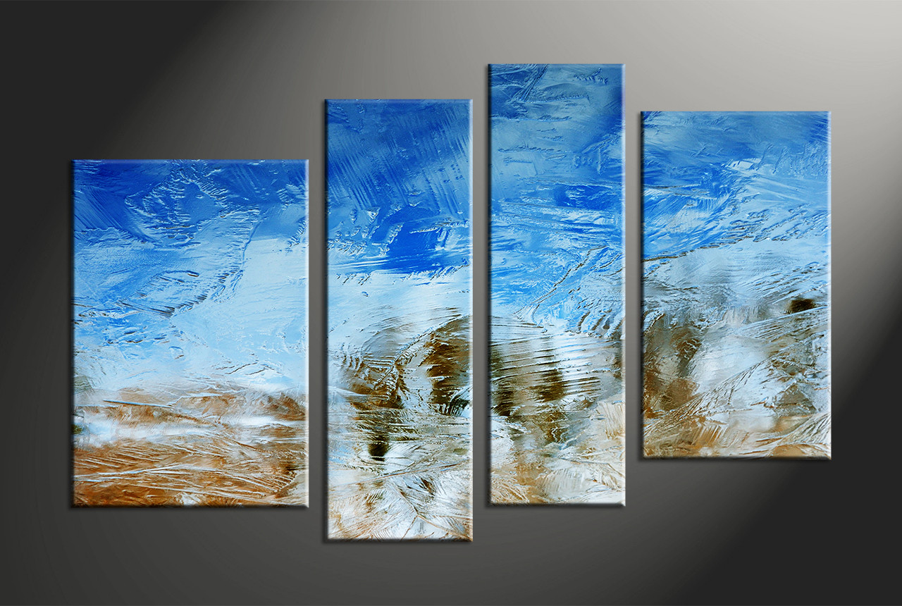 Abstract Art Prints On Canvas 4 Piece Canvas Blue Abstract Artwork