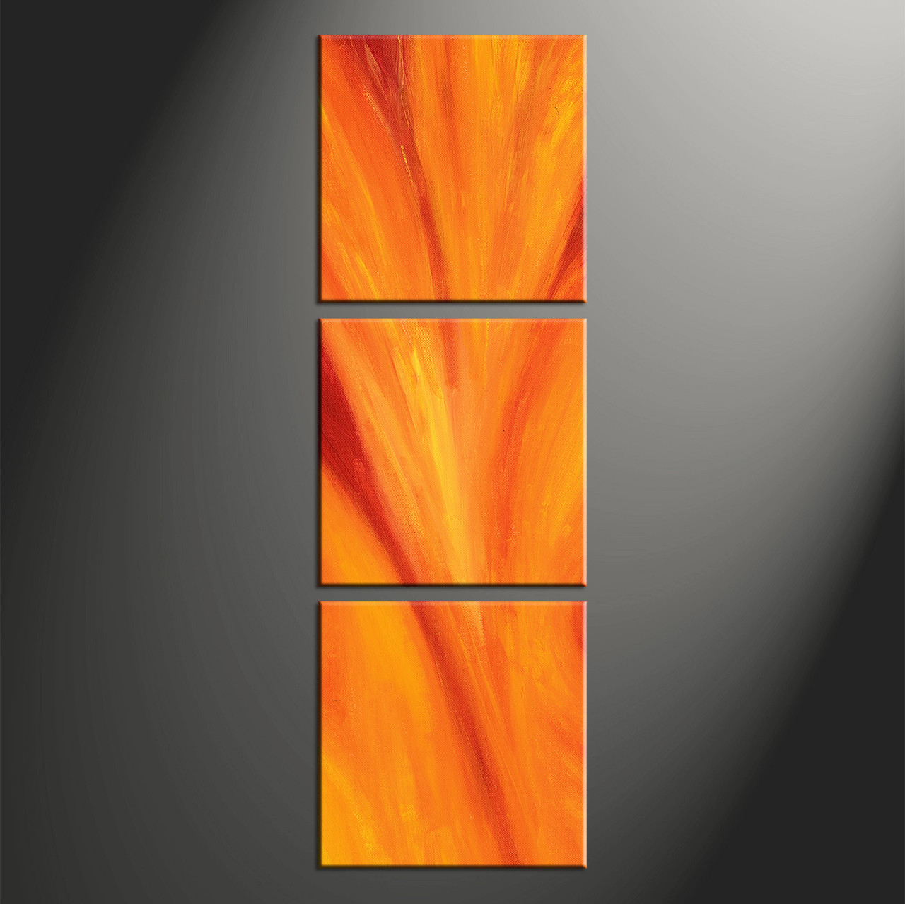 Large Vertical Paintings 3 Piece Red Canvas Orange Abstract Wall Art