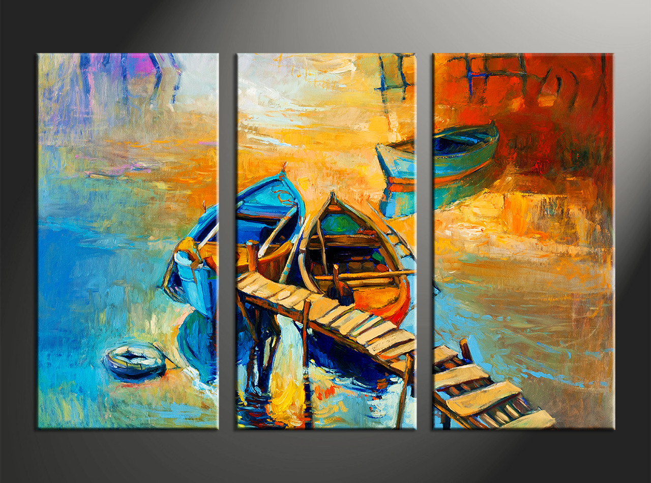 Home Decor Paintings 3 Piece Boat Ocean Oil Paintings Yellow Artwork