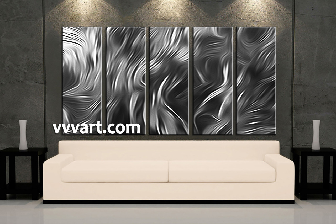 Black And White Canvas Pictures 5 Piece Abstract Silver Grey Multi Panel Canvas Abstract Wall Art Large Abstract Art