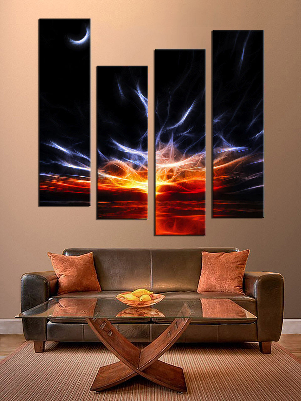 Living Room Paintings 4 Piece Home Decor Abstract Colorful Group Canvas Split Oil Paintings