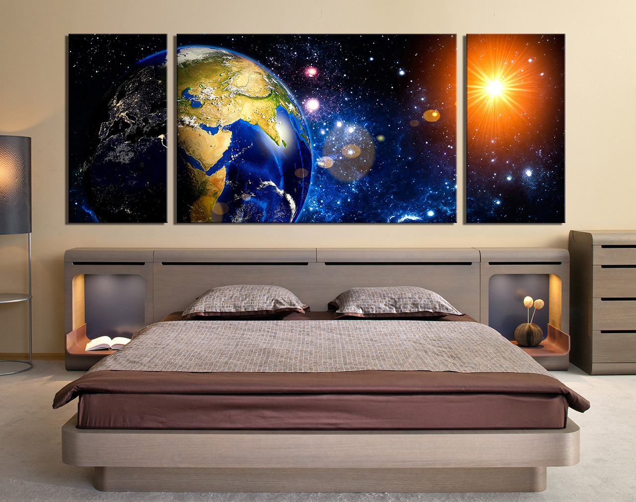 Planets Wall Art 3 Piece Photo Canvas Panoramic Space Canvas Wall Art Earth Modern Multi Panel Art Modern Group Canvas Planet Canvas Photography
