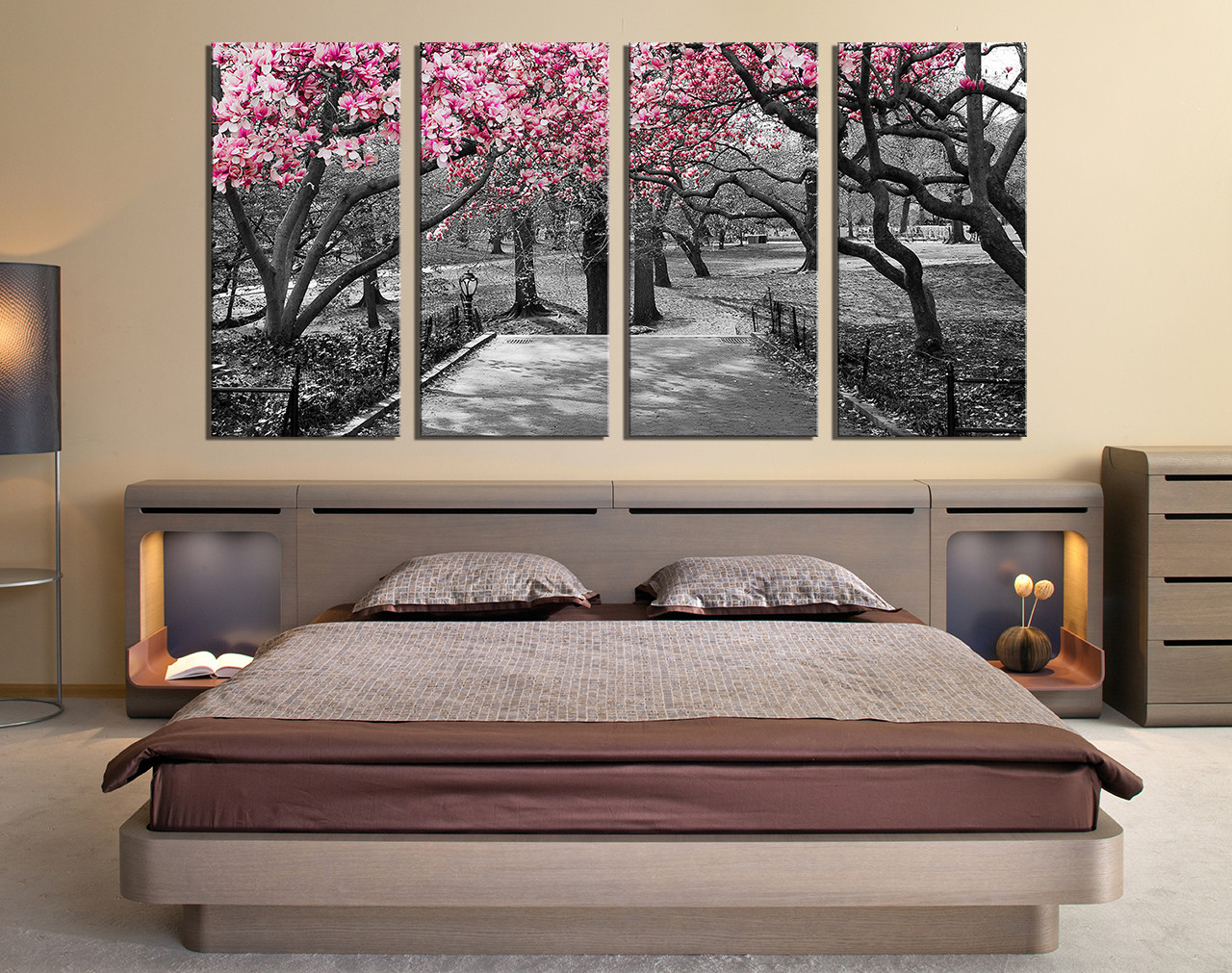 Black And White Artwork For Bedroom 4 Piece Canvas Photography Scenery Canvas Wall Art Grey Huge Canvas Art Tree Photo Canvas