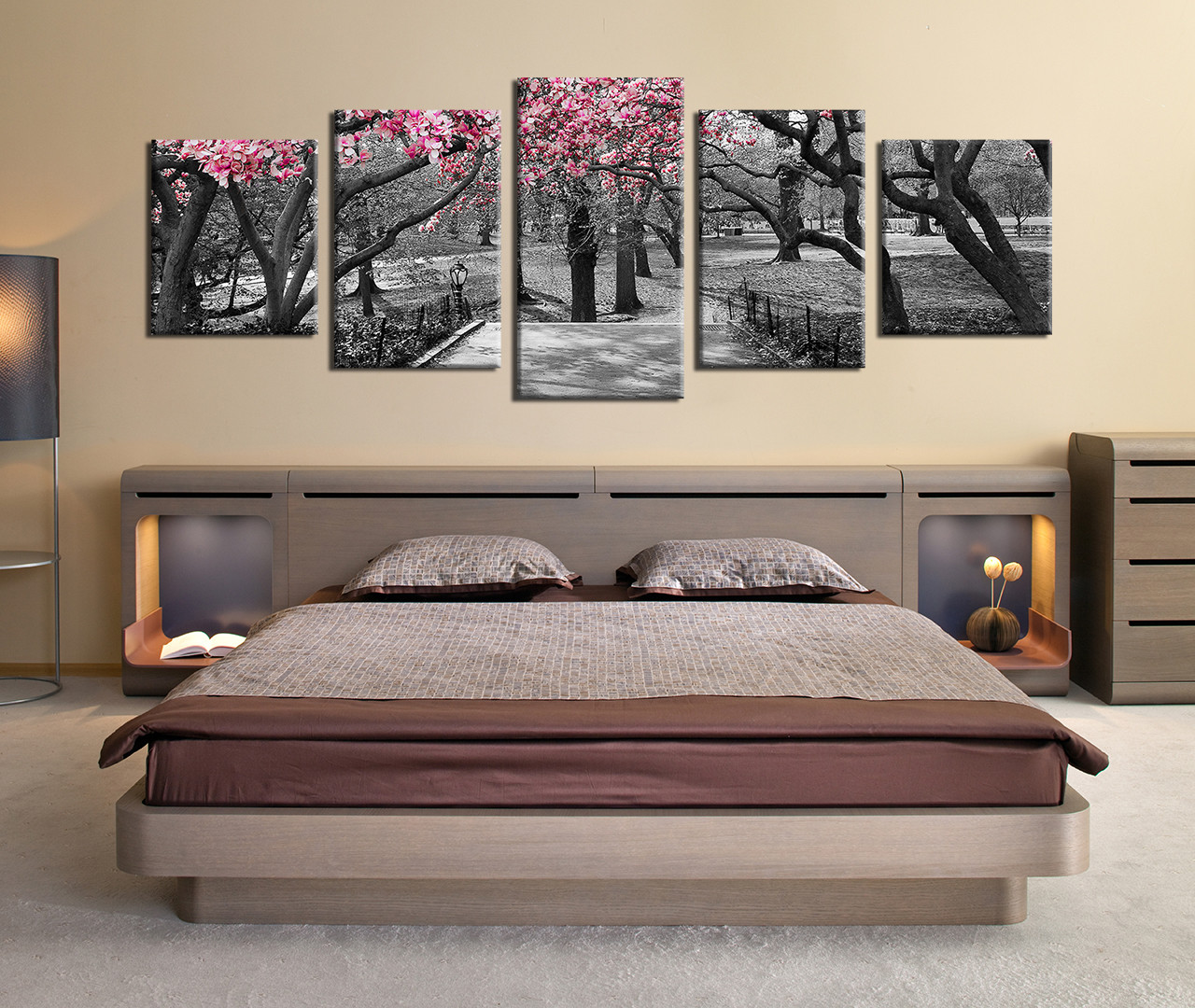 Black And White Artwork For Bedroom 5 Piece Multi Panel Canvas Grey Huge Pictures Autumn Trees Wall Decor Panoramic Scenery Canvas Wall Art Forest Photo Canvas Nature Artwork
