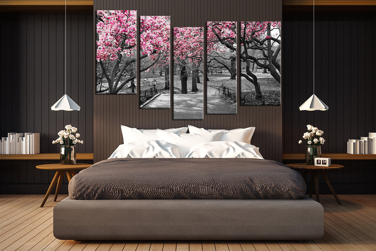 Black And White Artwork For Bedroom 5 Piece Multi Panel Art Grey Large Pictures Autumn Trees Wall Art Scenery Canvas Photography Forest Group Canvas Nature Artwork
