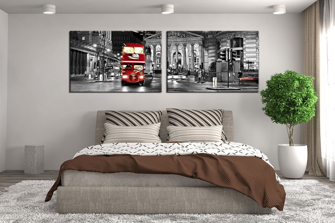 Black And White Artwork For Bedroom 2 Piece Canvas Wall Decor City Artwork Black And White Huge Canvas Print Red Bus Multi Panel Canvas City Large Pictures