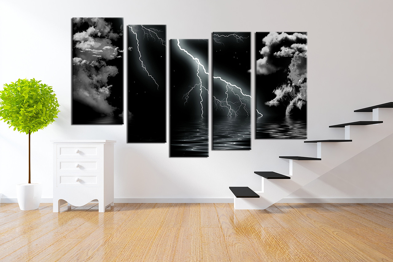 Black And White Canvas Pictures 5 Piece Group Canvas Black And White Wall Decor Thunderstorm Huge Canvas Print Ocean Multi Panel Art Sea Large Pictures
