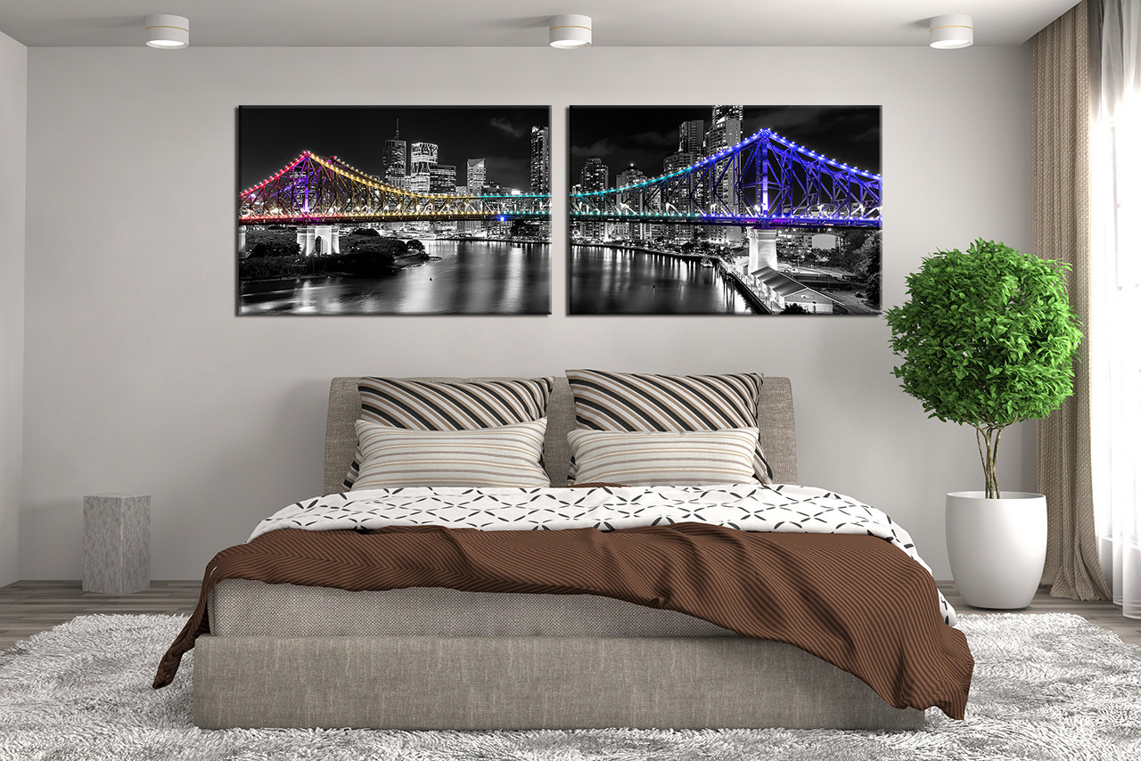 Black And White Artwork For Bedroom 2 Piece Photo Canvas Black And White City Large Canvas City Light Artwork Bridge Canvas Wall Art City Huge Canvas Art