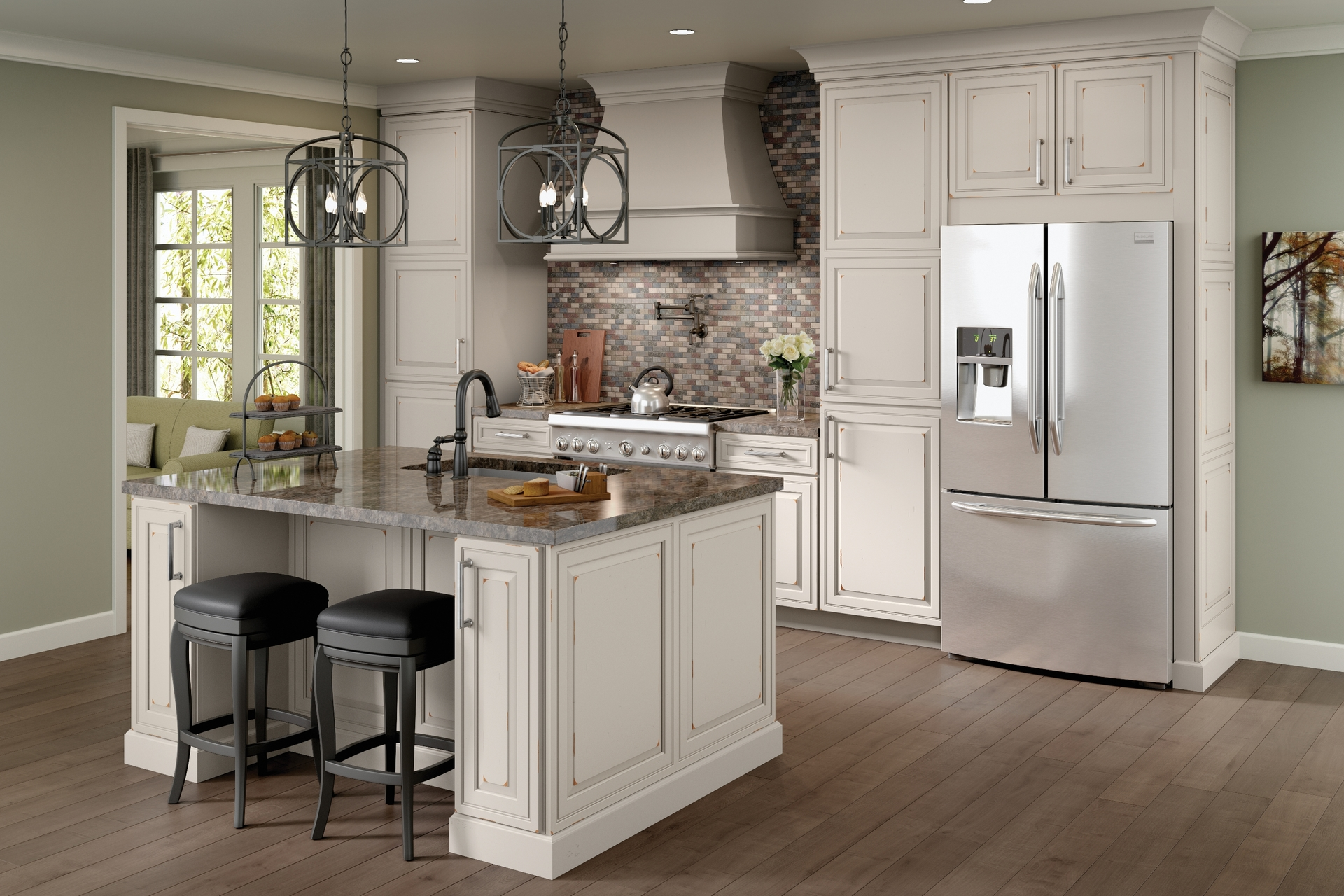 White Kitchen Cabinets Menards Cardell Kitchen Cabinets Captsone Cherry In Distressed