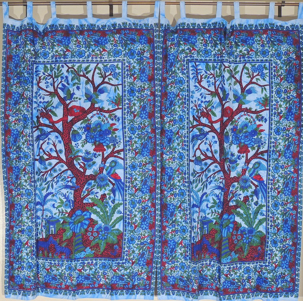 Cotton Curtain Panels Eclectic Indian Curtain Panels Tree Of Life Window Coverings Ethnic Cotton Print