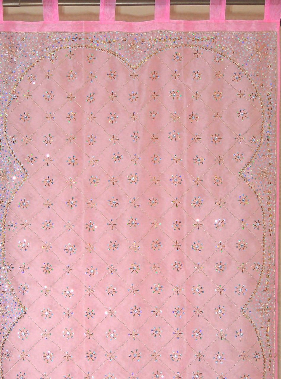 Pink Sequin Curtains Pink Zardozi Sheer Curtain Panel Hand Embroidered Beaded Window Treatments 92