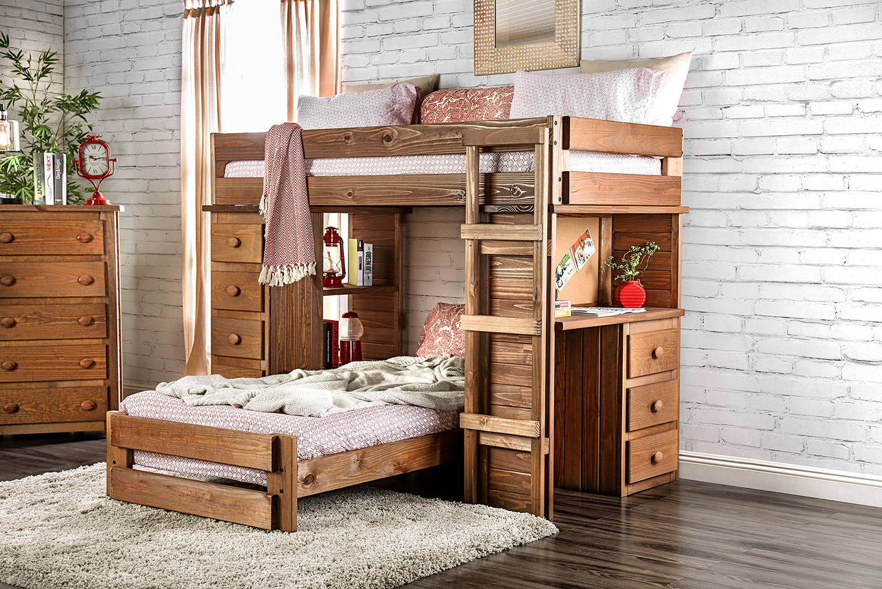 Bed With Desk Rustic Style Twin Loft Bed With Desk