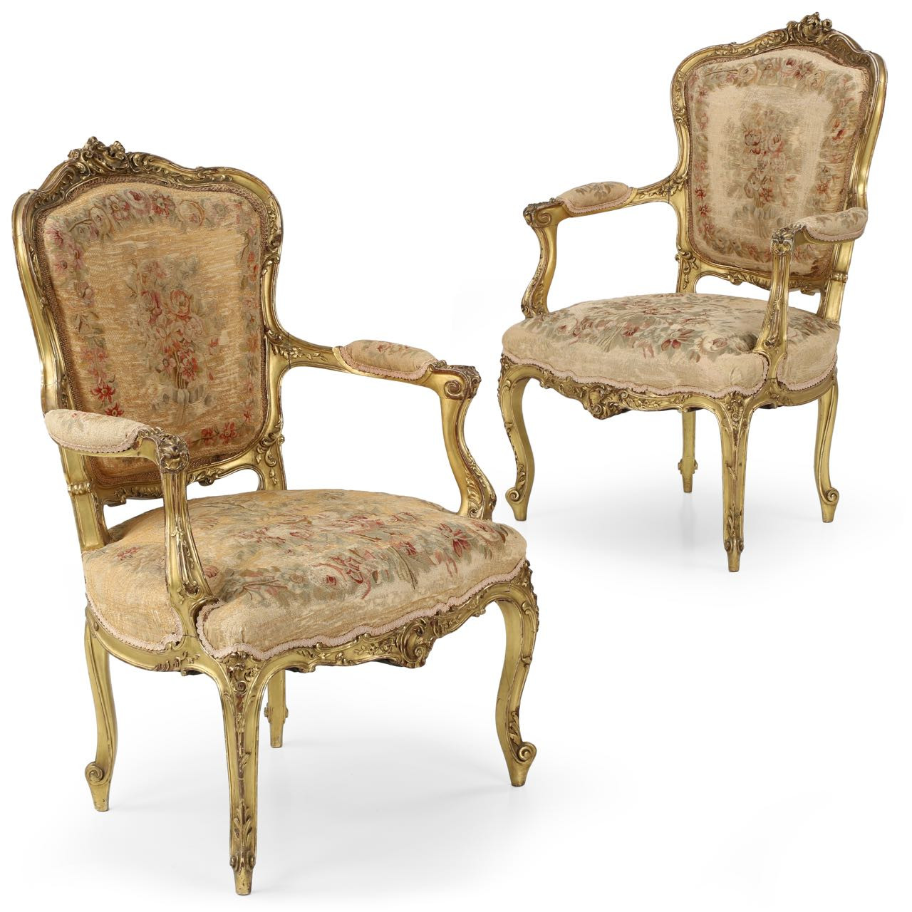 Fauteuils Style Louis Xv Exceptional Pair Of French Louis Xv Style Giltwood Arm Chairs