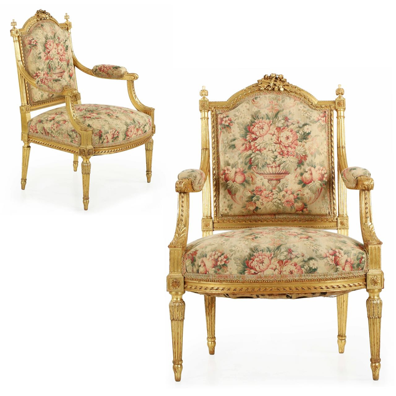 Fine Pair Of French Louis Xvi Style Giltwood Arm Chairs