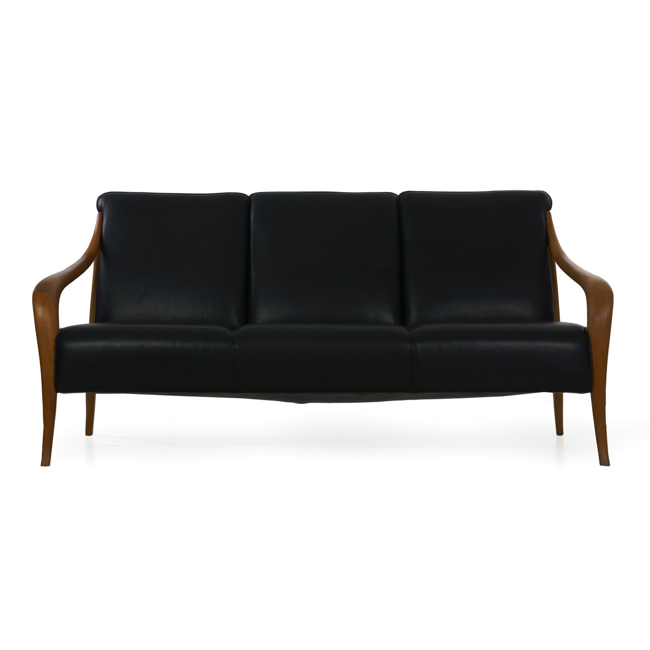 Sofa Modern Scandinavian Modern Sculpted Teak Leather Sofa 20th Century