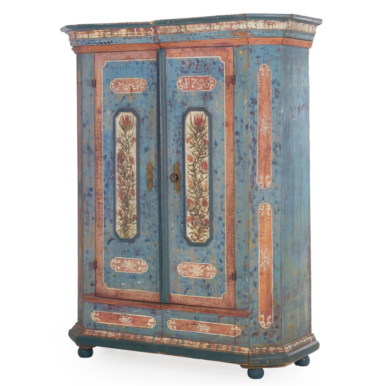 Bavarian Painted Schrank Armoire Cabinet Dated 1796